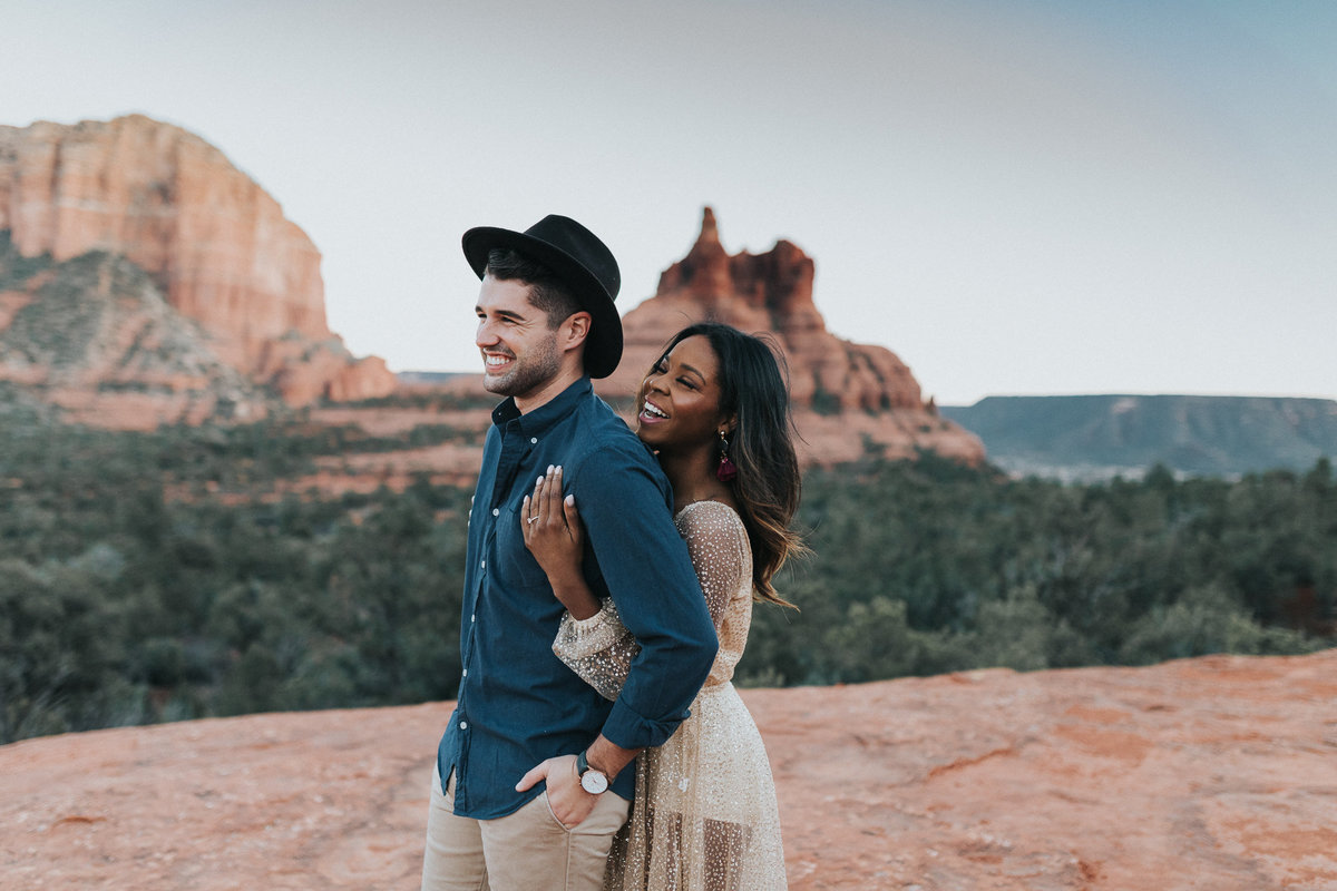 A couple in love during their engagement session in Sedona Arizona