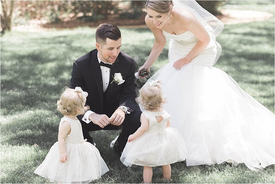 Bride Groom with Twin Flower Girls