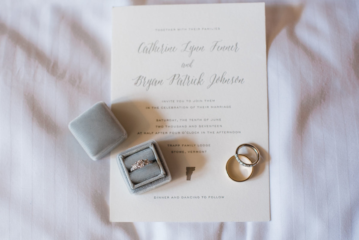 Stowe vermont wedding invitation, gray Mrs box