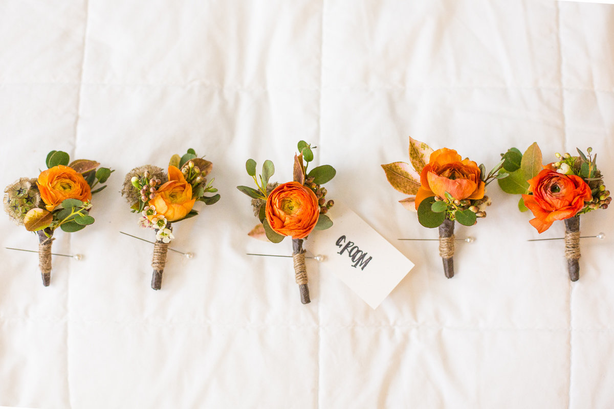 Christy+AJ- FlowersatWill orange Boutonniere142