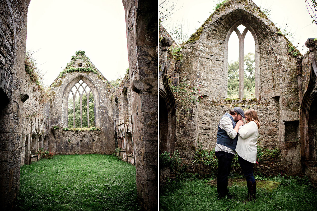 Engagement session of couple leaning foreheads together in the ruins of a castle in Ireland by Knoxville Wedding Photographer, Amanda May Photos.