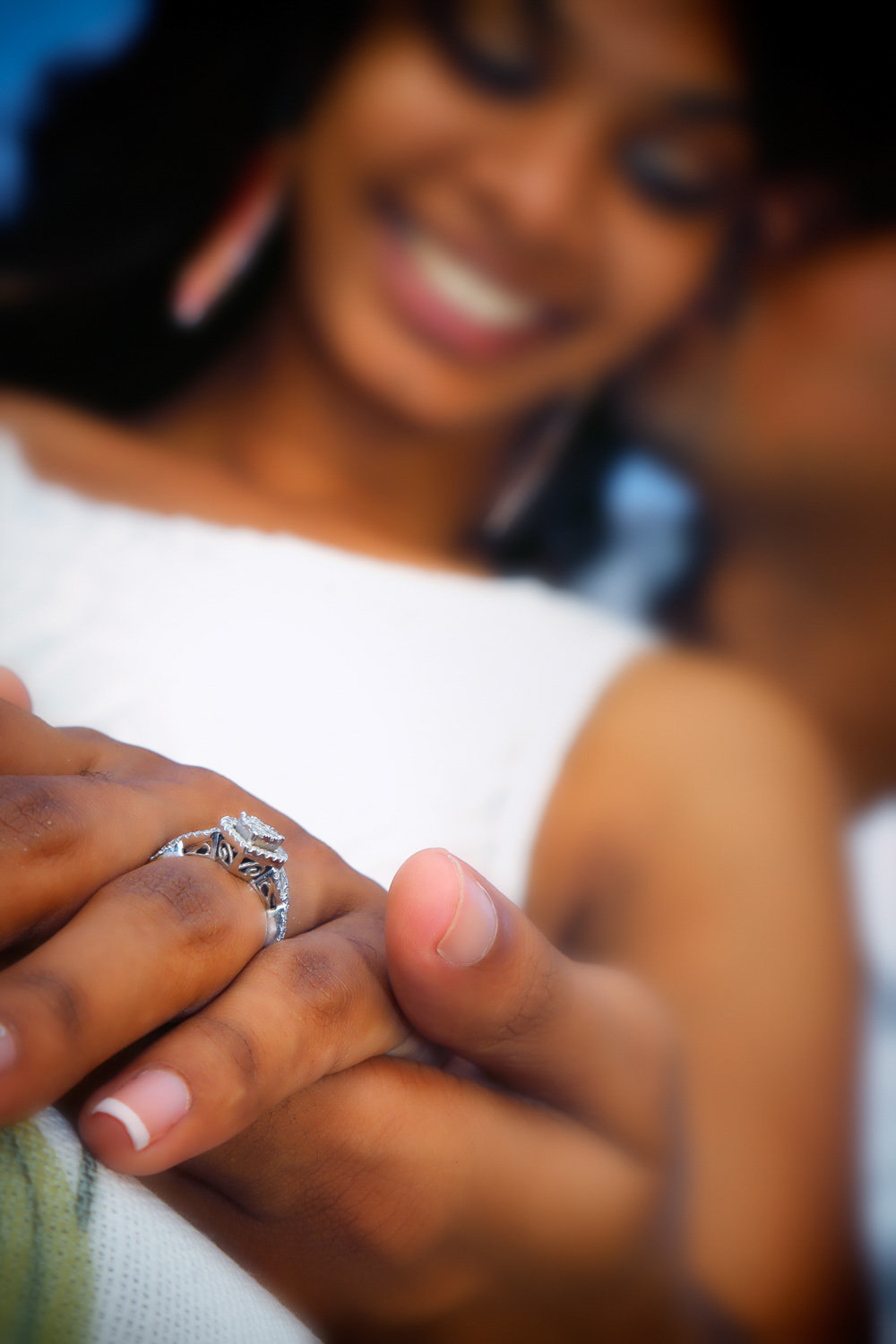 Close-up shot of engagement ring. Photo by Ross Photography, Trinidad, W.I..