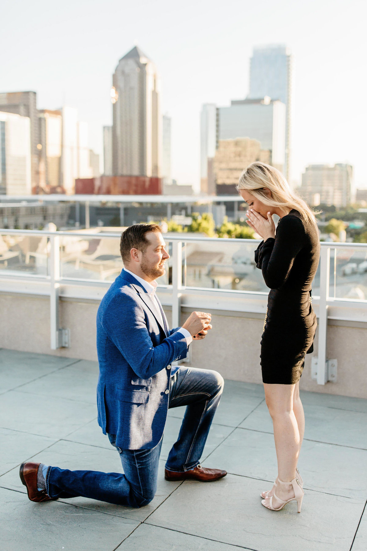 Eric & Megan - Downtown Dallas Rooftop Proposal & Engagement Session-34