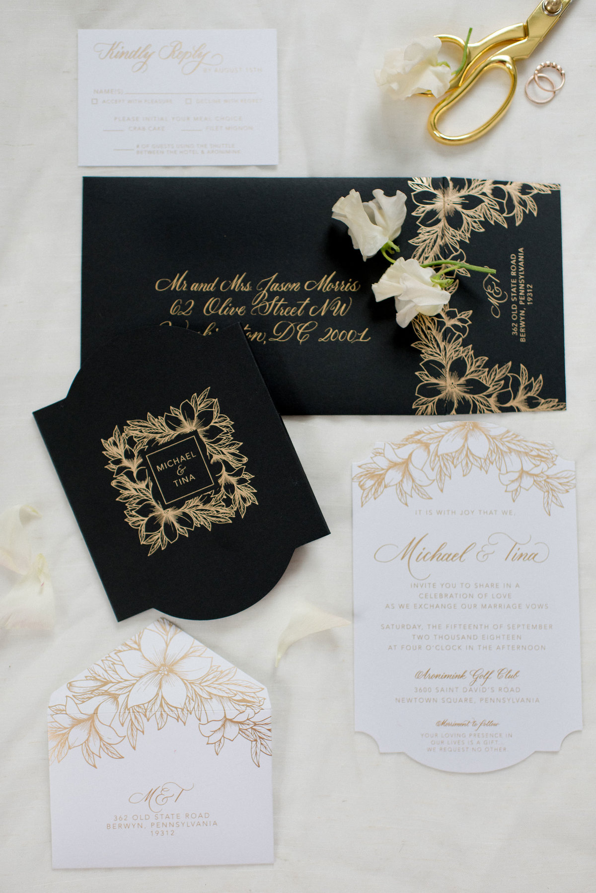 Elegant black, white and gold wedding invitation suite