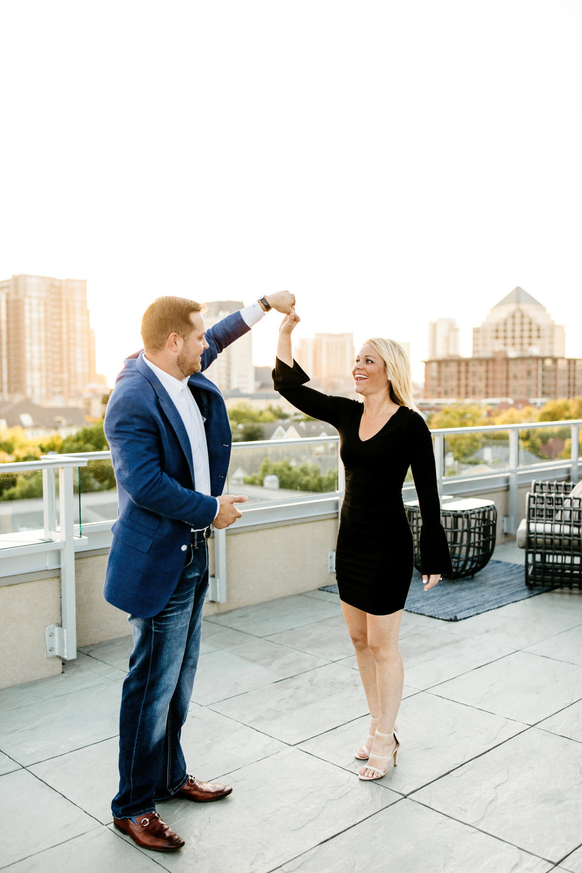 Eric & Megan - Downtown Dallas Rooftop Proposal & Engagement Session-92