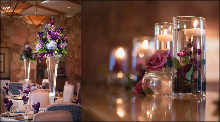 tall centerpieces with purple and pink flowers