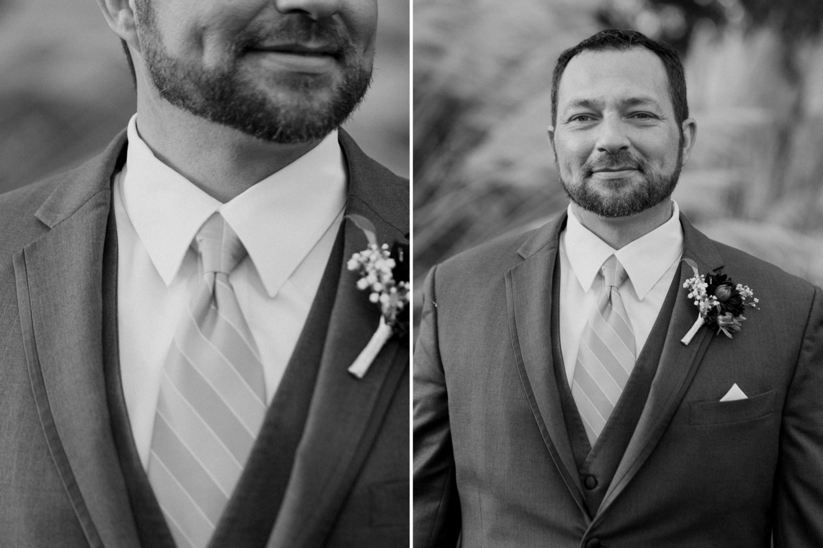 Black and white photo of Oregon groom portraits with boutonniere  | Susie Moreno Photography