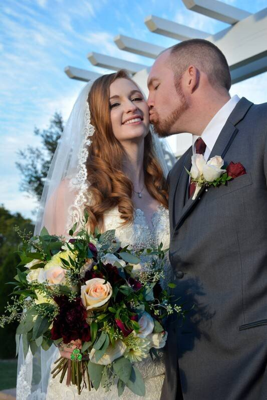 Red haired bride with porcelain skin with neutral eye and pink lip