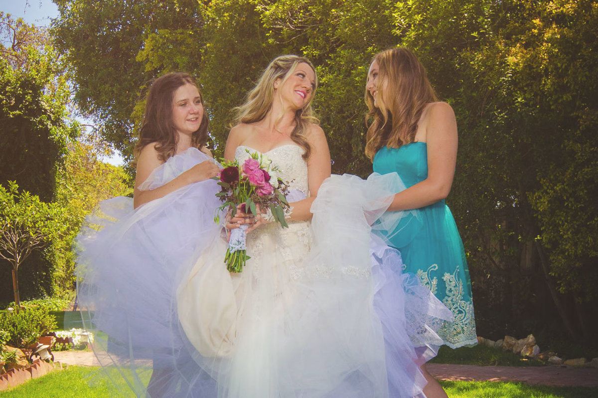 adorable bride and bridesmaids