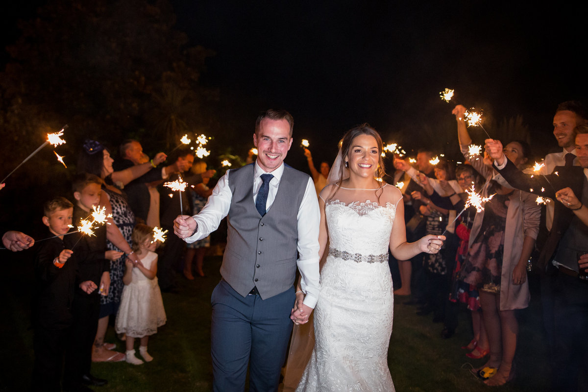 sparkler wedding photo in torquay
