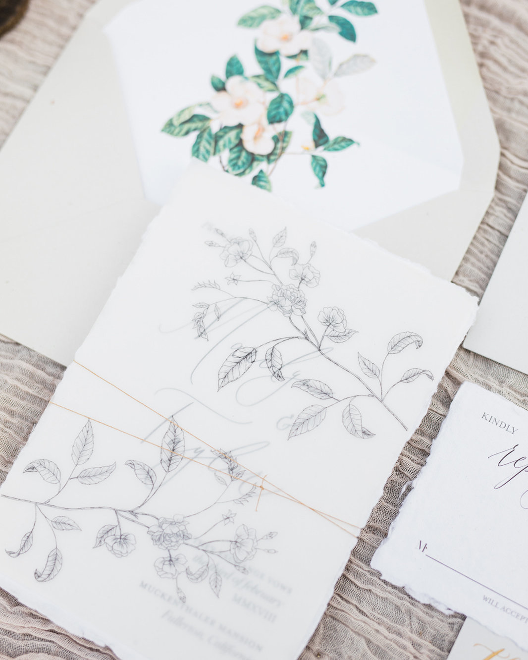 plume & fete romantic invitation suite with floral illustrations