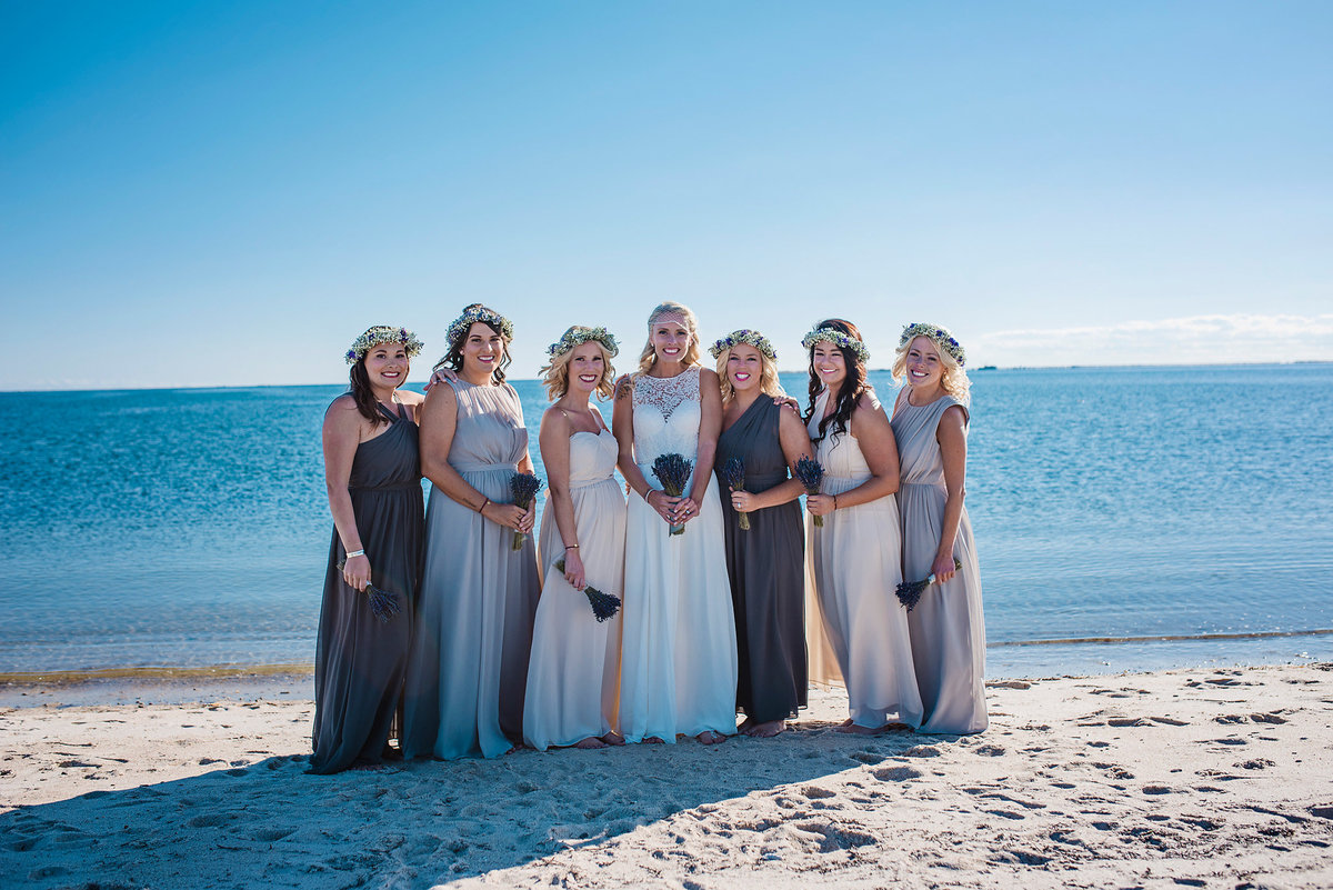 bride and bridesmaids on beach, Cape Cod wedding