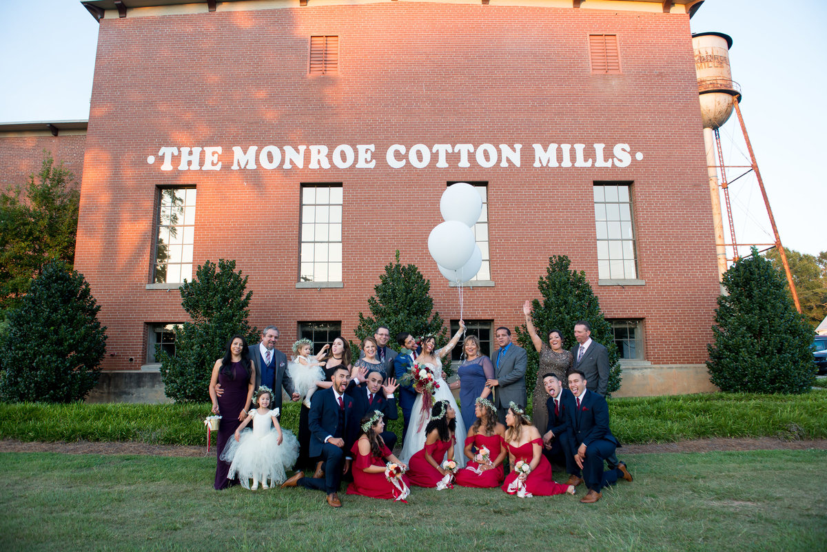 Monroe Cotton Mills Bridal Party Wedding Group Photo