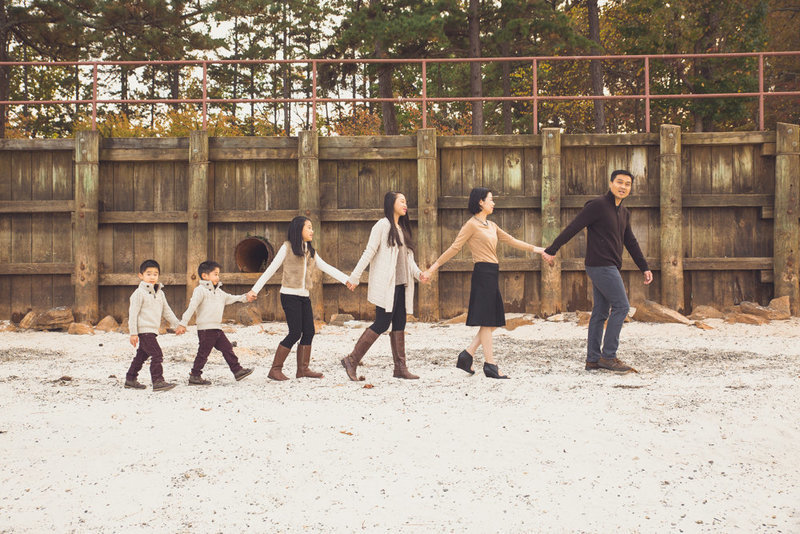Large family picture creative shot walking