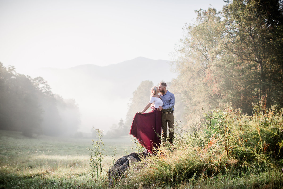 Standing on a rock in cades cove by Knoxville Wedding Photographer, Amanda May Photos.