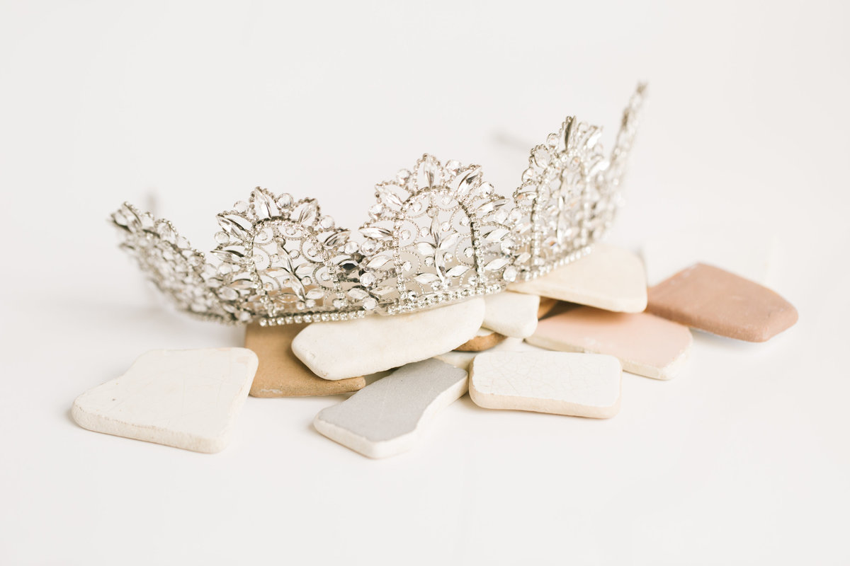 bridal tiara on sea glass