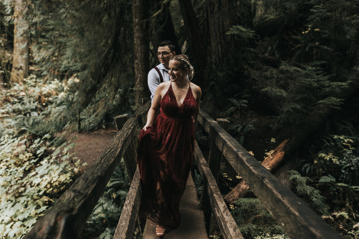 lakecrescent - olympic national park - marymere falls - elopement - engagement session-34