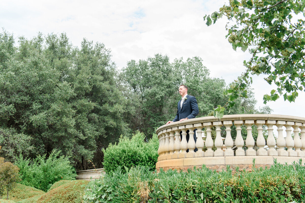 groom looking over a balcony at greenery
