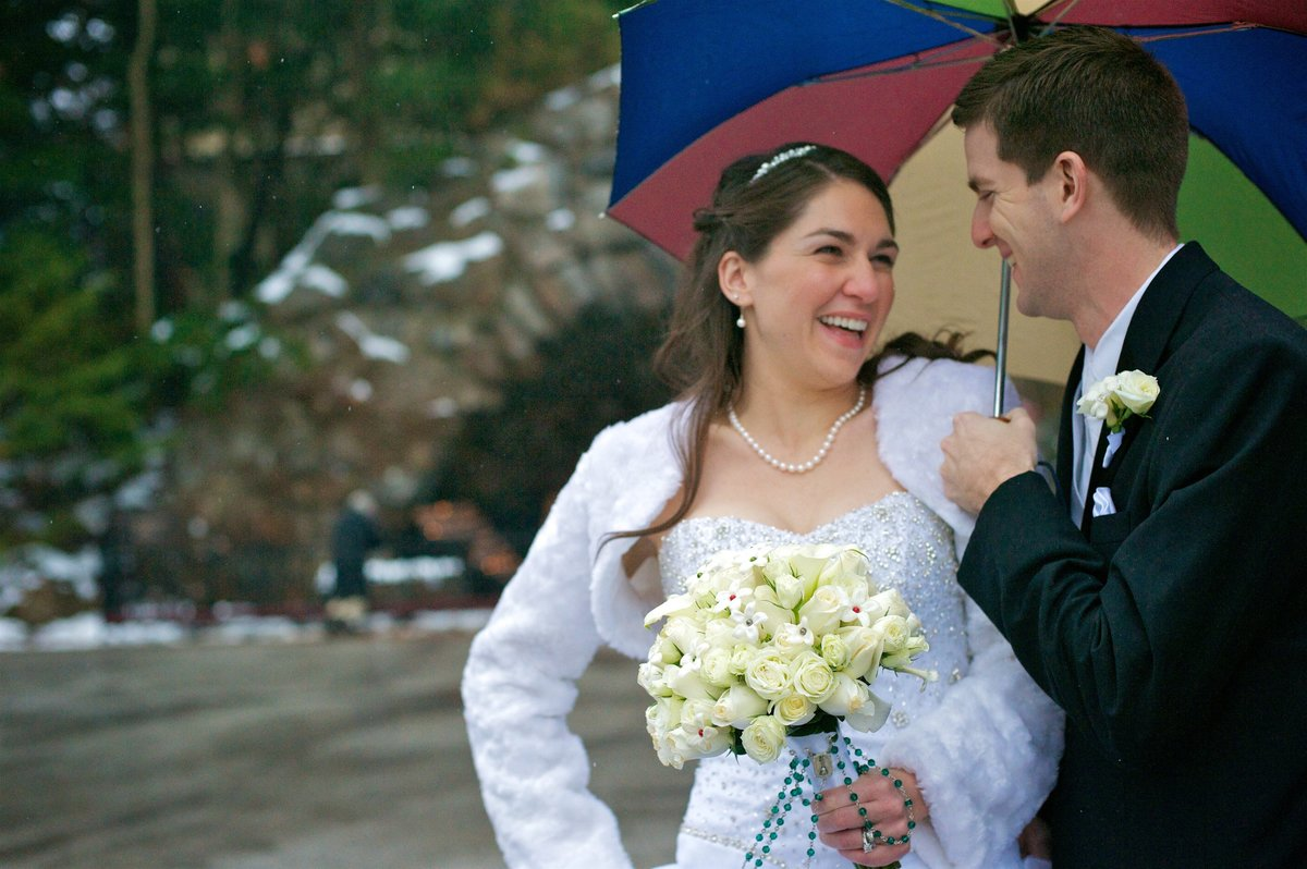 Rainy Bridal Portraits at the Grotto, Notre Dame, IN