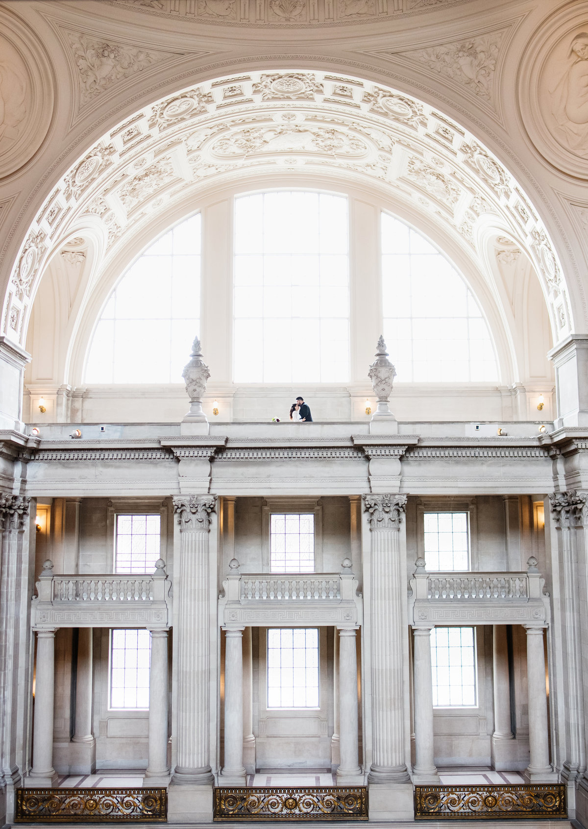 San Francisco City Hall Third  Floor Wedding COuple