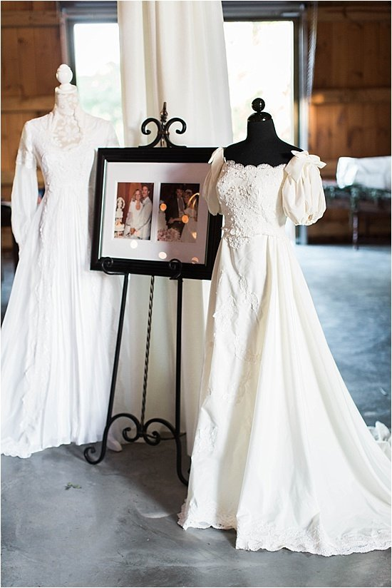 Display Heirloom Mother Wedding Dresses at Reception