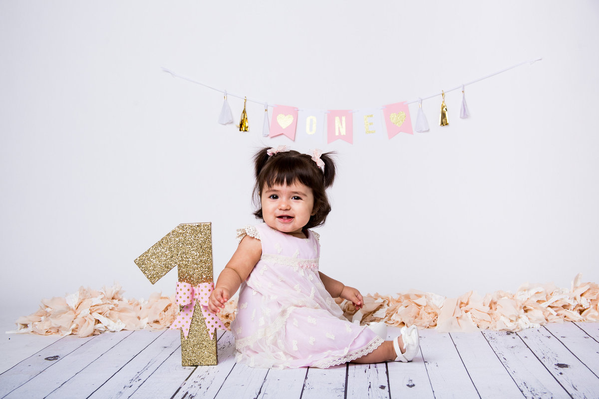 Baby sitting on wooden floor with banner, pom poms, and number 1 prop