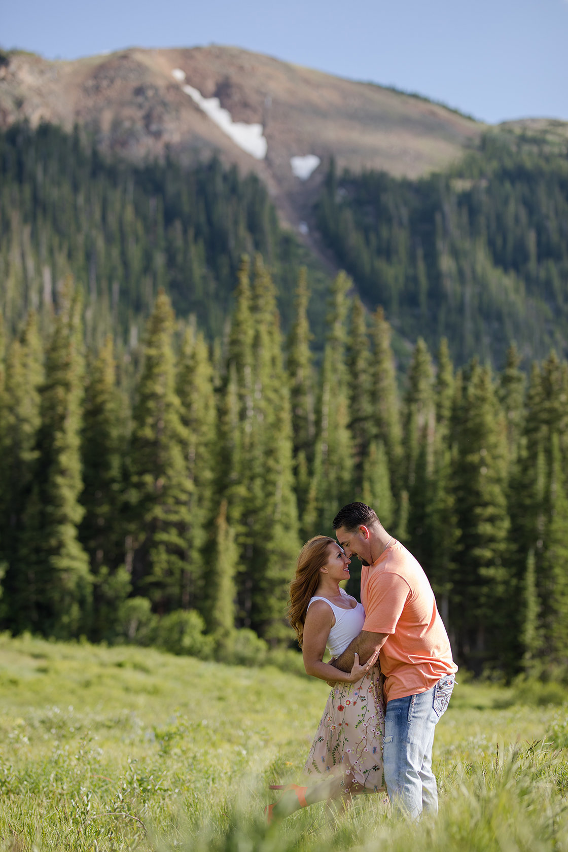 Loveland engagement photos with mountain landscape
