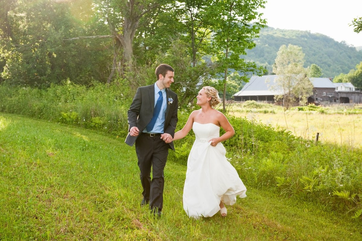 Vermont wedding couple in field