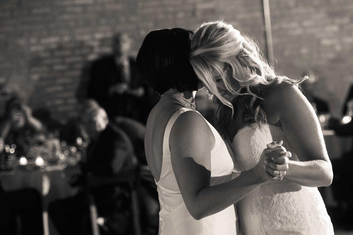 Brides share first dance, same sex wedding, Chicago IL.