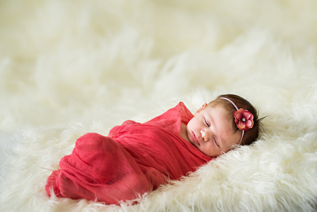 A month old baby sleeps on a fur blanket and swaddled in a red blanket.