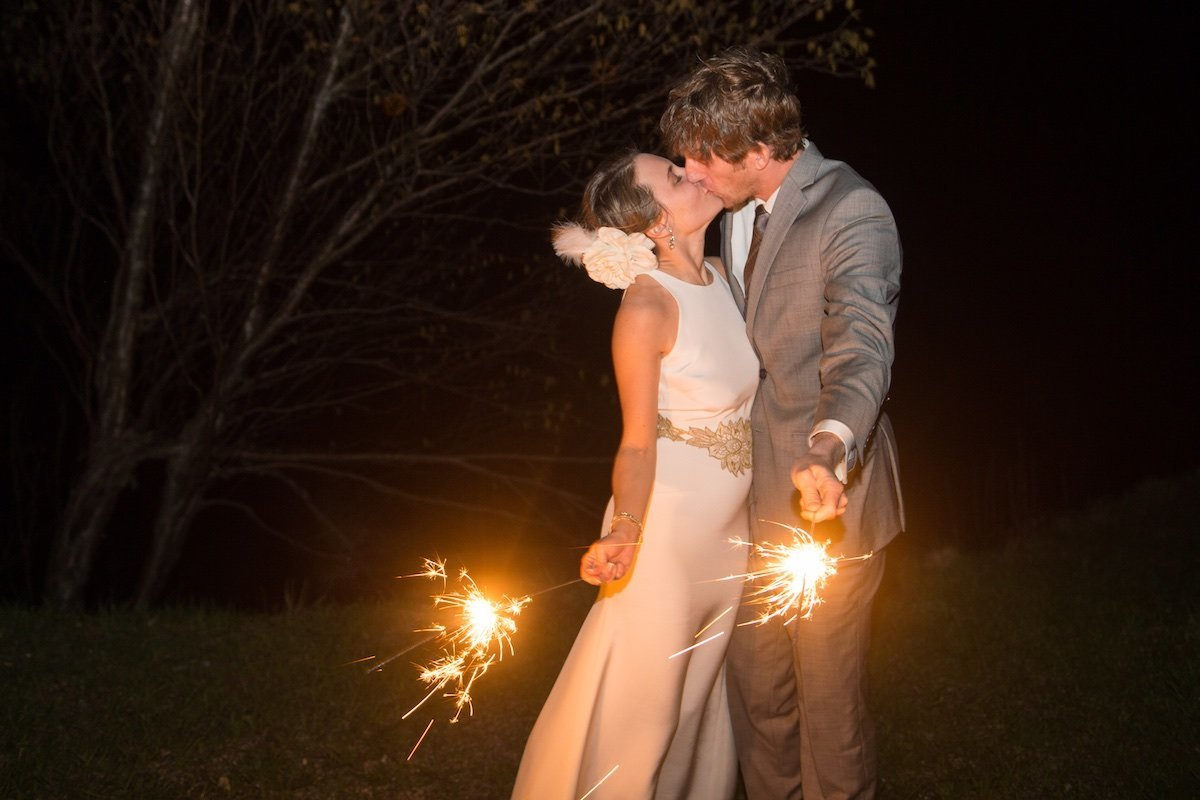 at dark wedding photos in Vermont at Jay Peak Resort with sparklers 2
