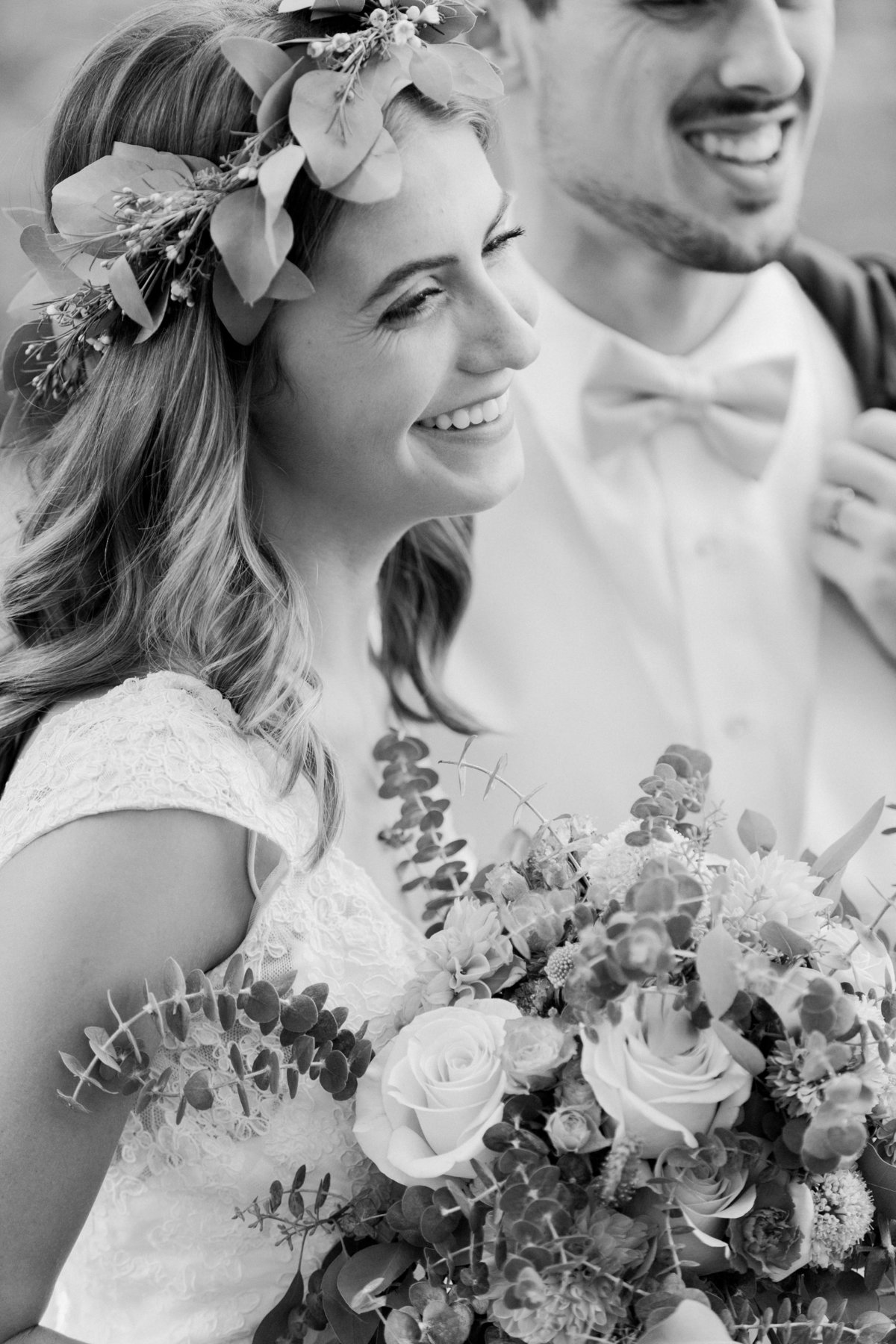 Charley Creek Gardens Wedding Bride and Groom Black and White Photo
