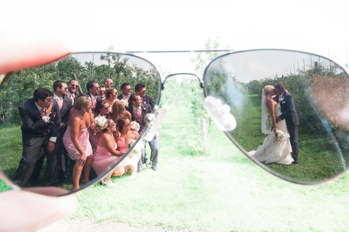 bridal party photographed through sunglasses
