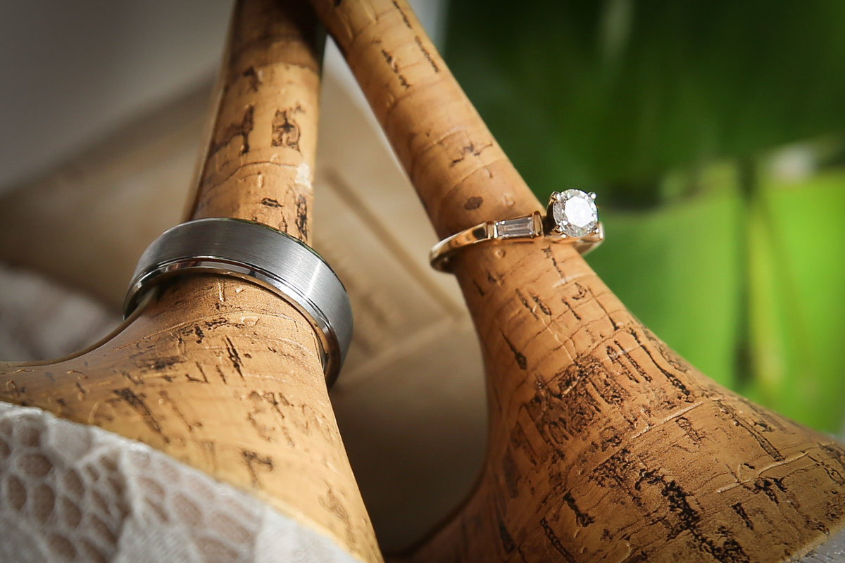 Wedding rings on the stiletto of bride's shoes. Photo by Ross Photography, Trinidad, W.I..