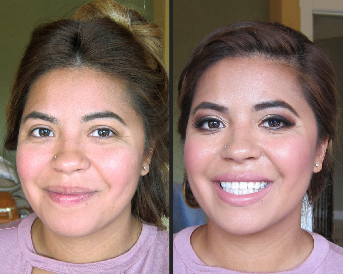 before and after makeup - wedding party
