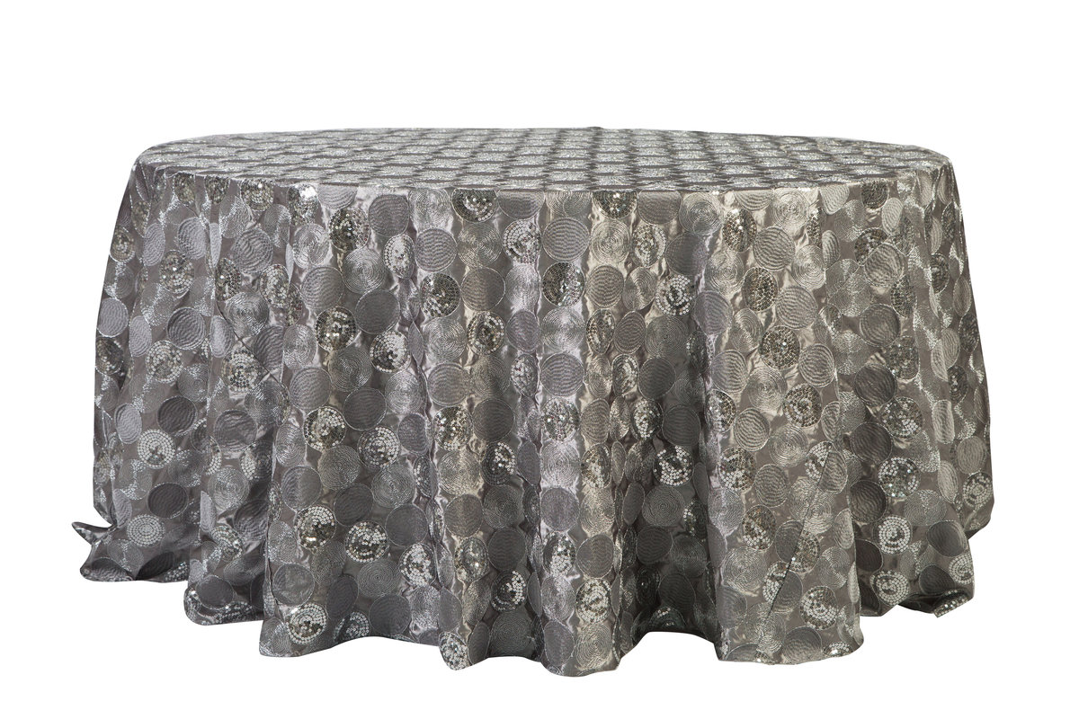 132'' Rd Silver Nikko Tablecloth