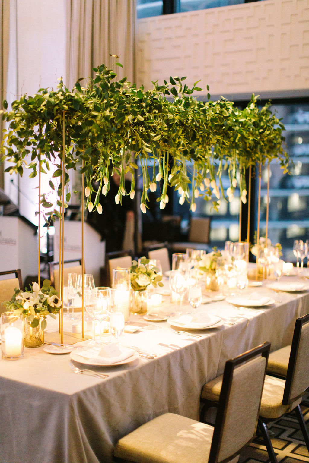 Langham Chicago Wedding with Suspended Greenery Centerpieces_11