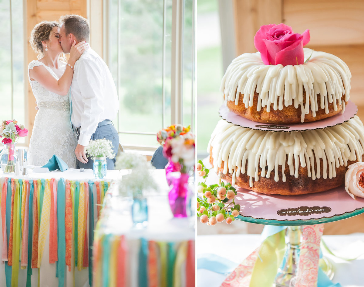 Kris Kandel photographer captured this colorful boho wedding with bunt cakes and ribbons.