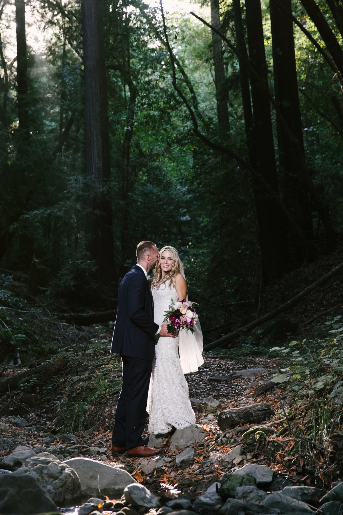 bride and groom photos in forest Bay Area, CA