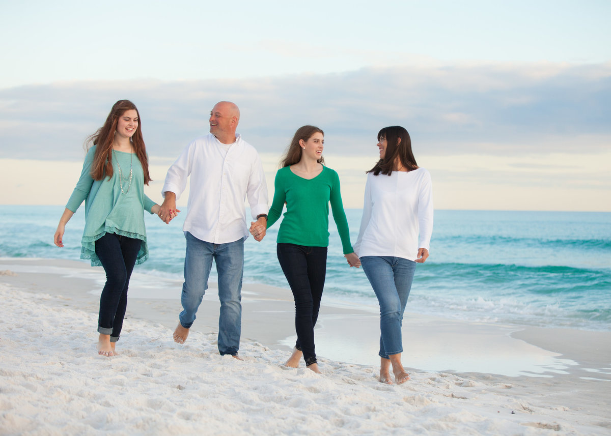 Adult family walking on the beach in Destin florida