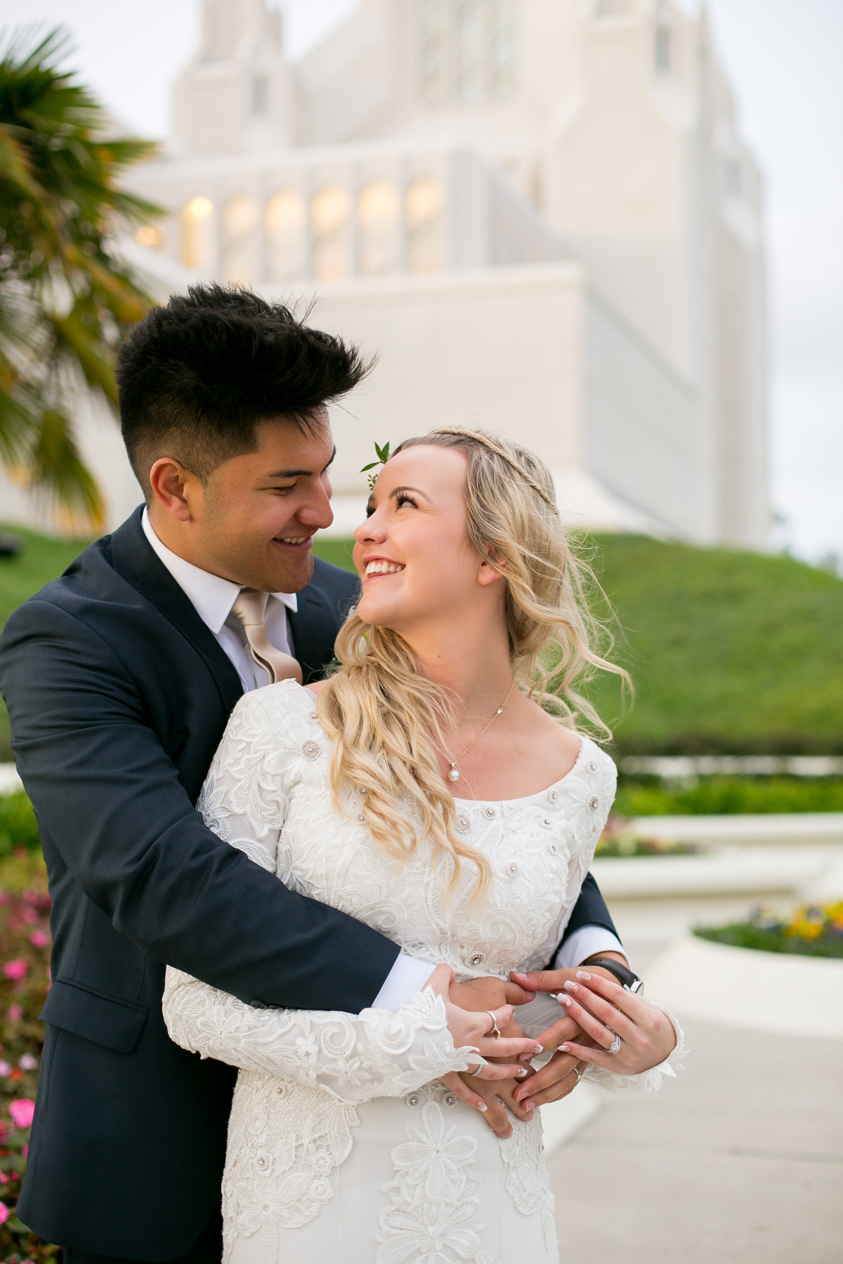 Bride and groom at San Diego LDS temple wedding