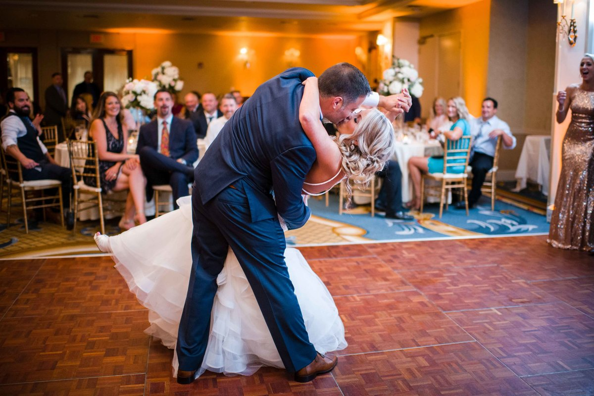 24 First dance for bride and groom at waters edge wedding