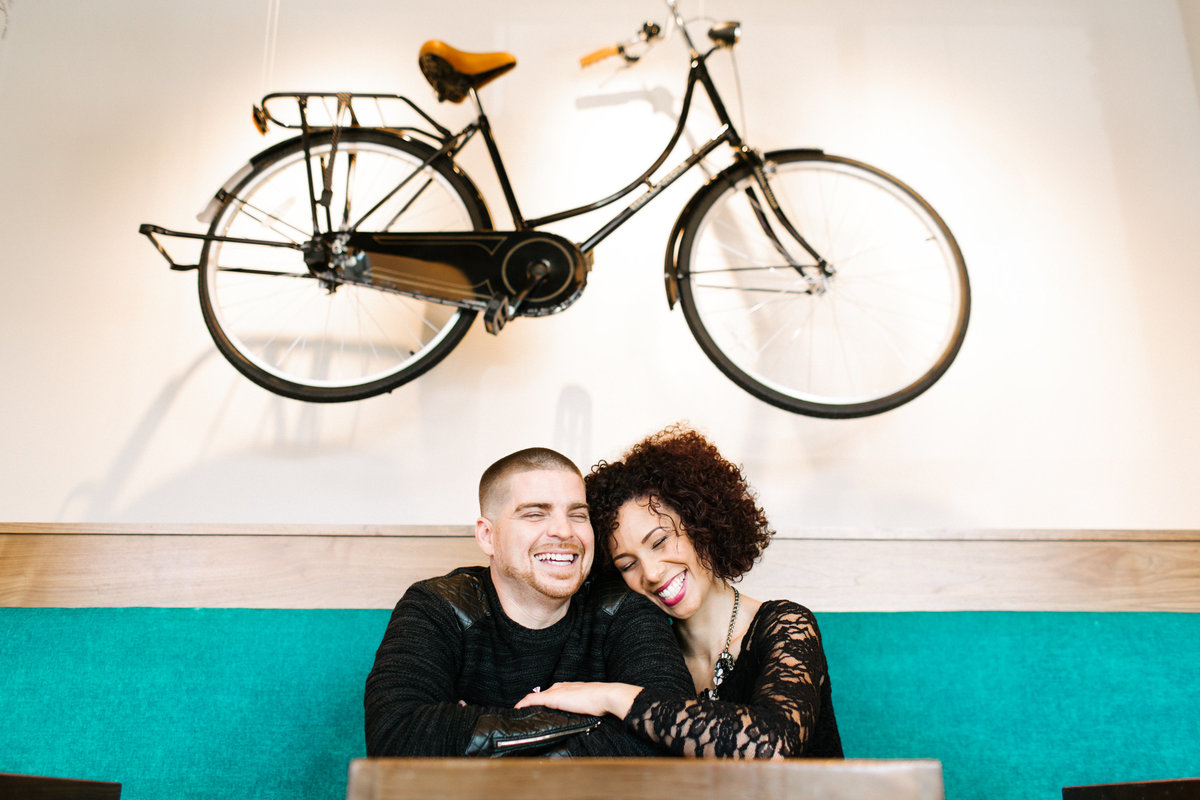 couple smiling bike bicycle