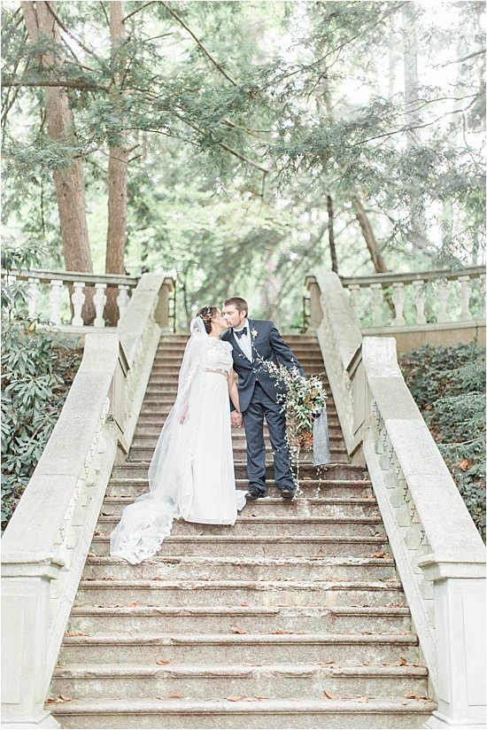 Bride and Groom on Stairs at Cator Woolford Atlanta
