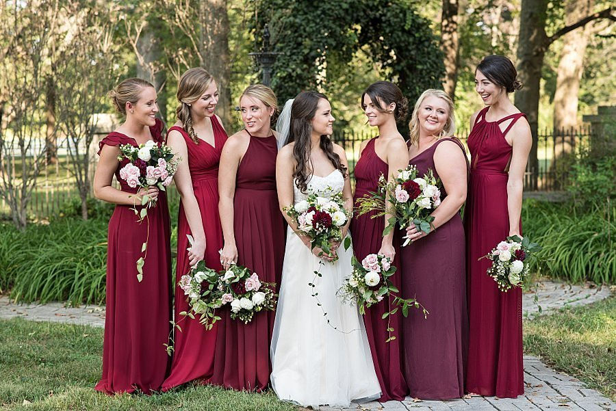 crimson-blush-pink-greenery-bridesmaids