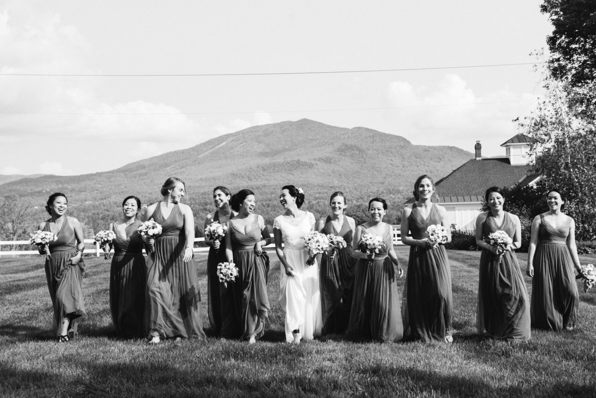 black and white bride and bridesmaids