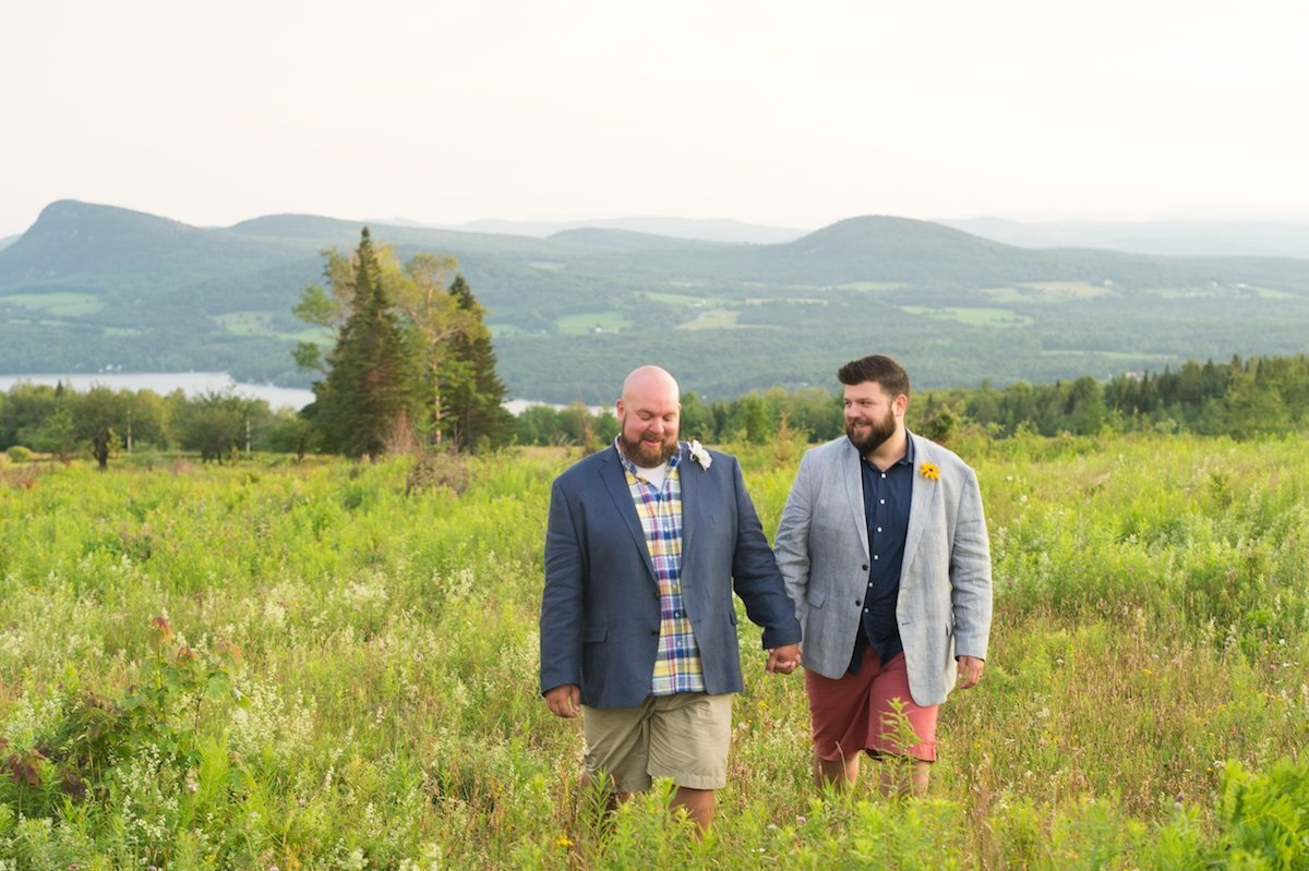 same sex Vermont wedding photographer for intimate elopement overlooking Lake Willoughby 2
