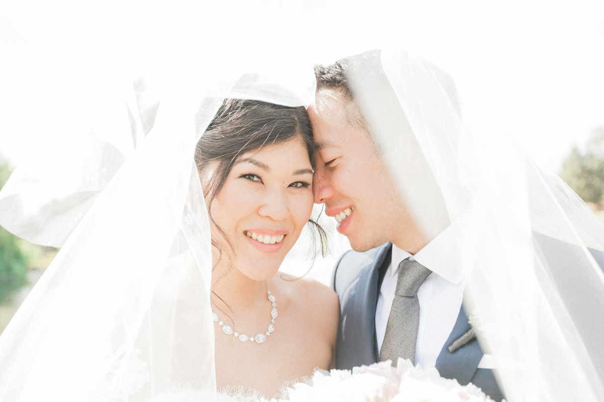 Wedding Couple with Long Veil