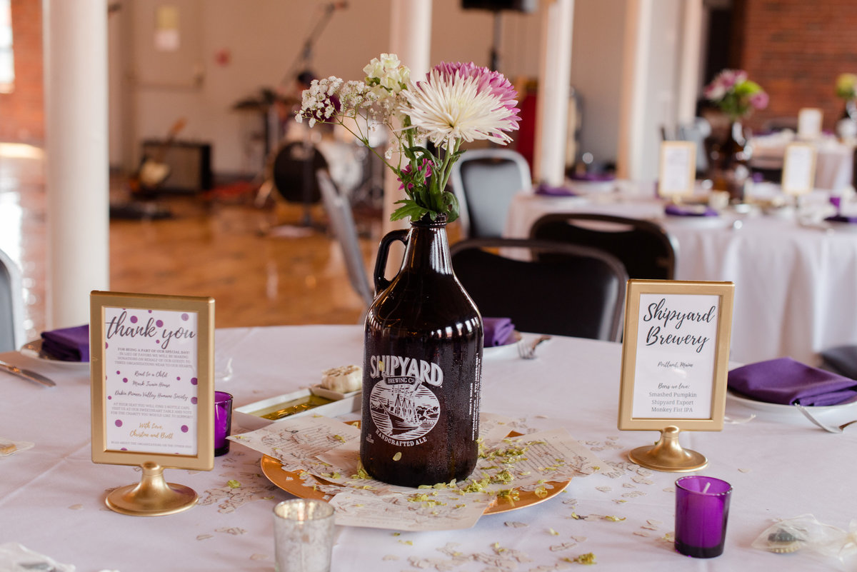 brewery inspired wedding details at Mill 1 at Open Square