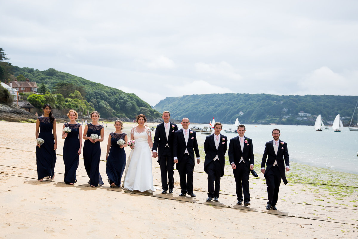 bridal party on the beach at salcombe